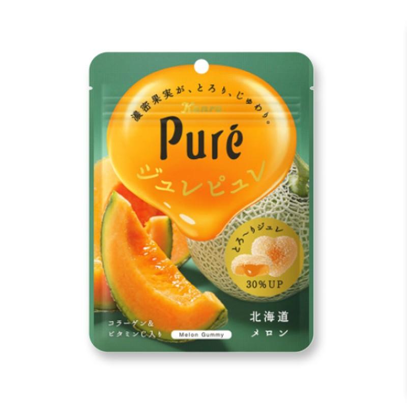 Japanese KANRO PURE Heart Juice Collagen Fudge Hami Melon Flavor 56g