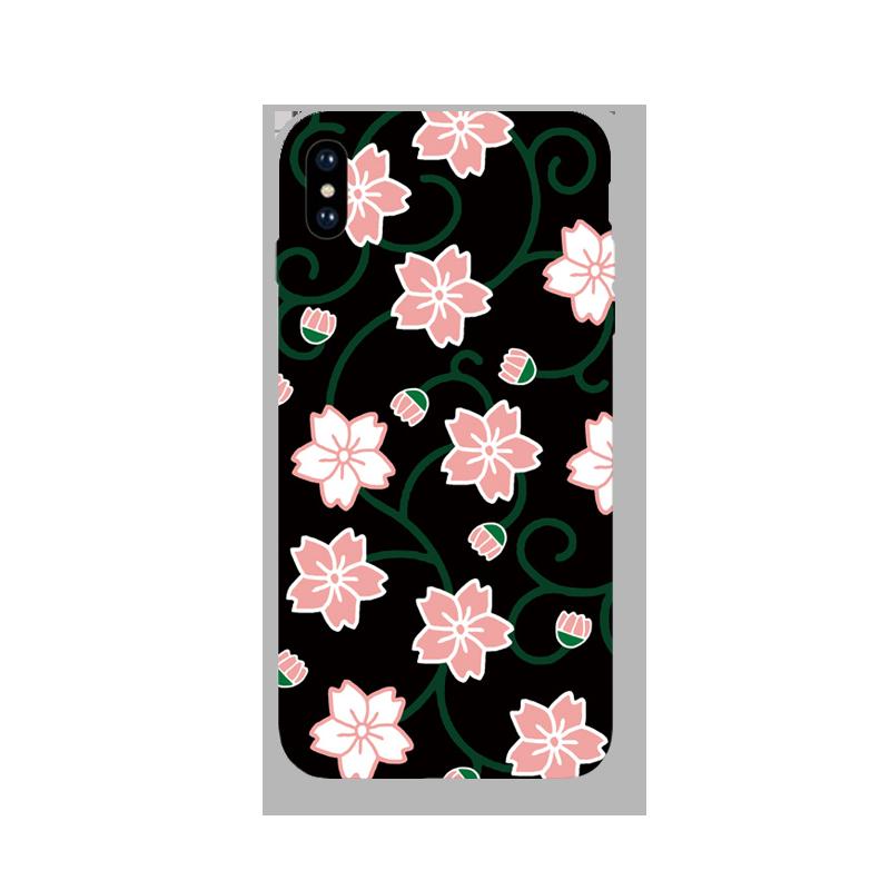 粉色花 卡通磨砂手机壳