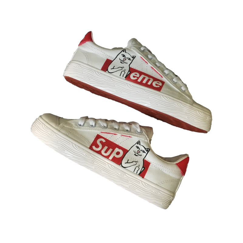 [Coke Cooperation] Back to the sky force back to join forces off custom white limited limited edition pussy cat hand-painted shoes