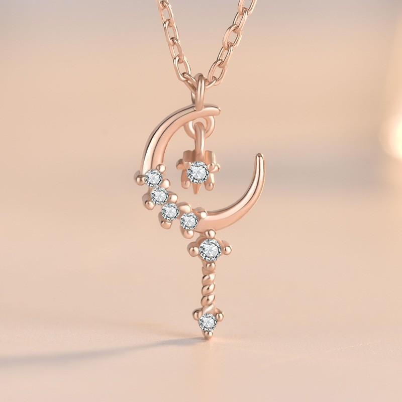 卡蒂罗18K星月锁骨链 气质轻奢风925纯银同款魔法星仙女棒项链女