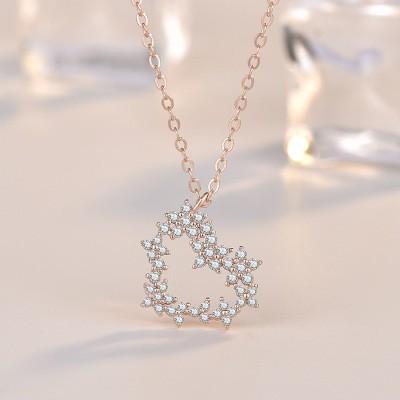 卡蒂罗 森系创意925纯银花系项链 时尚潮镂空锆石爱心小众锁骨银饰女