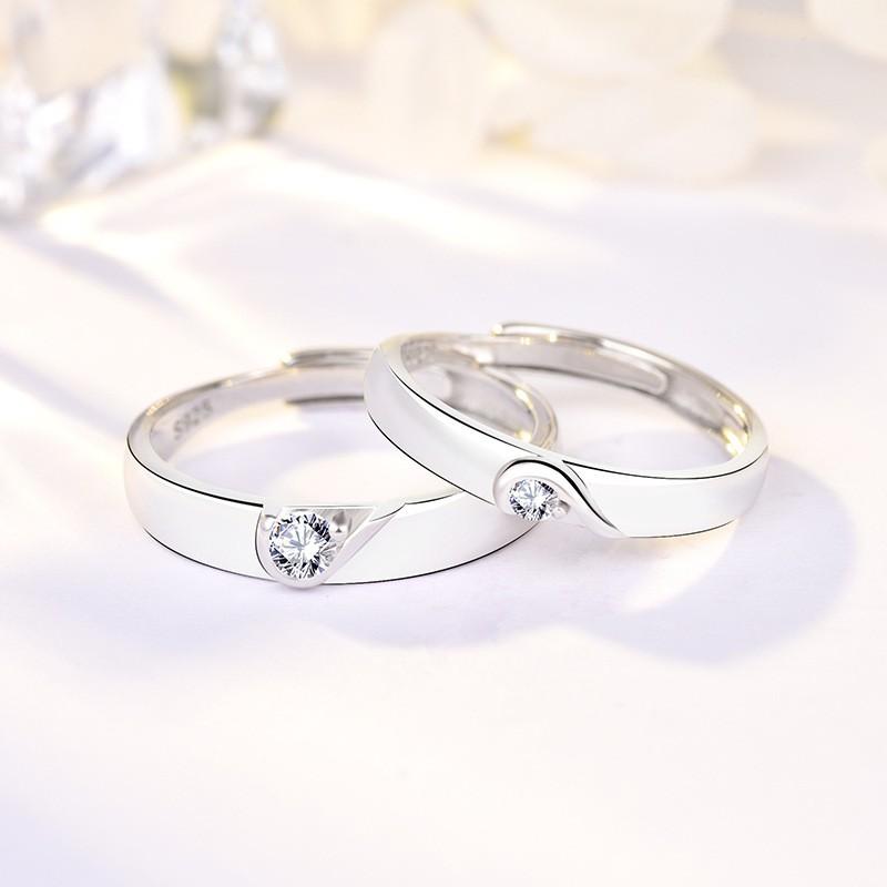 卡蒂罗 韩版小众设计情侣纯银 心形戒指925纯银镶嵌锆石开口情侣戒指