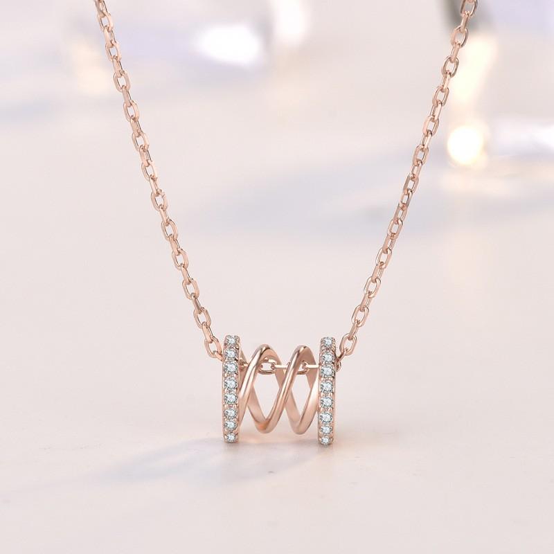 卡蒂罗 时尚新款纯银18k金小蛮腰项链 网红镂空镶钻精致防过敏锁骨颈链女