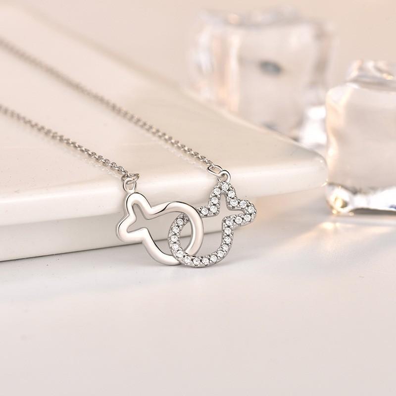 卡蒂罗 双环接吻鱼锁骨项坠 森系轻奢小清新女颈戴925纯银项链