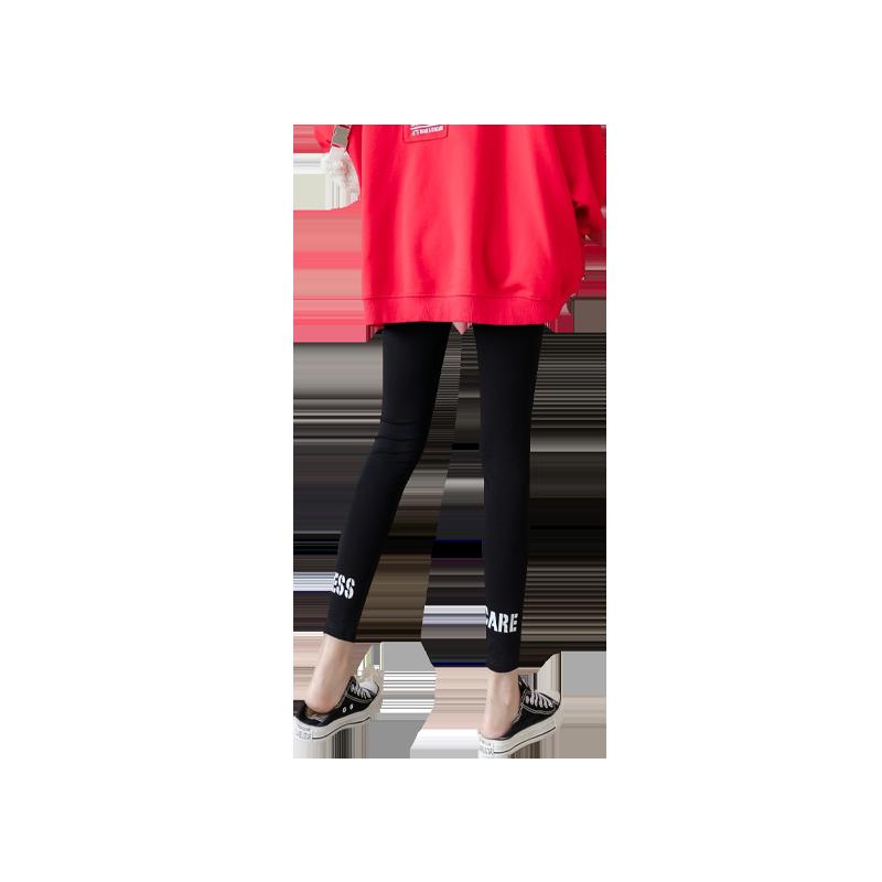 运动打底裤女外穿大码字母九分裤弹力紧身健身小脚裤