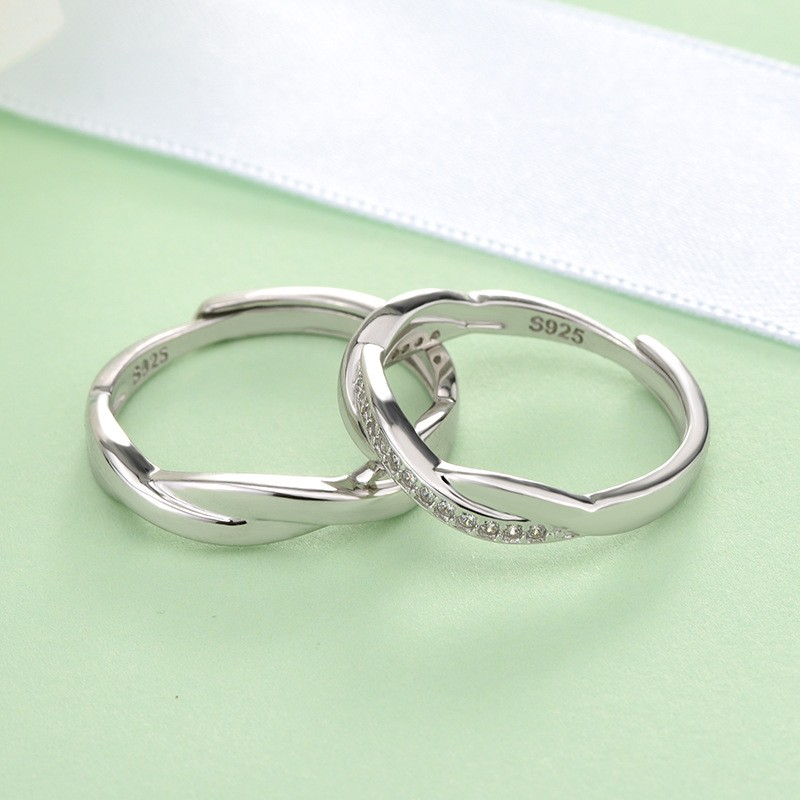 S925 sterling silver couple ring