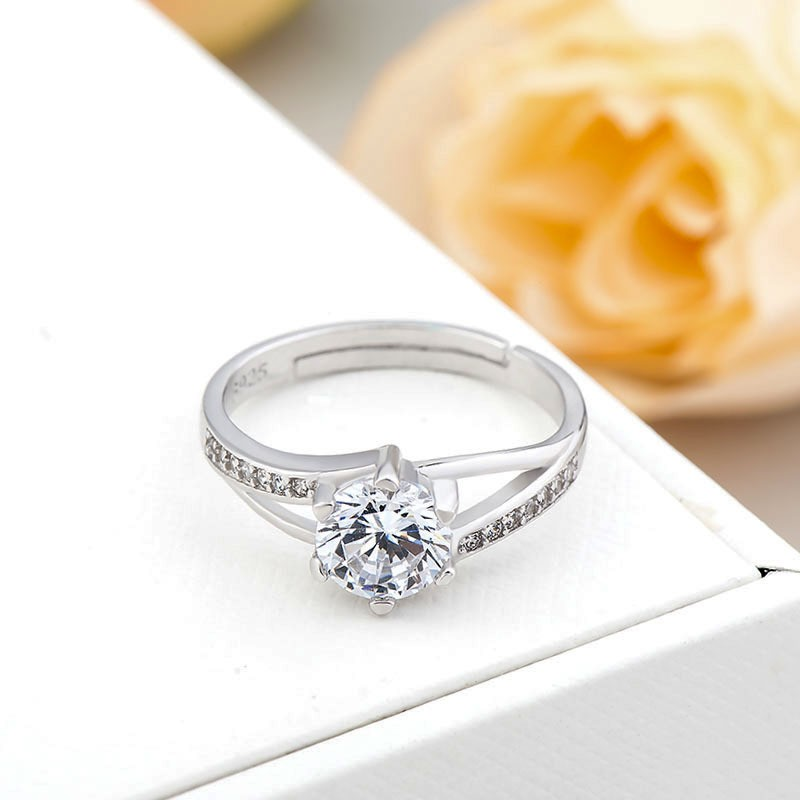 卡蒂罗 s925纯银六爪戒指 韩版双边微镶八心八箭锆石女戒