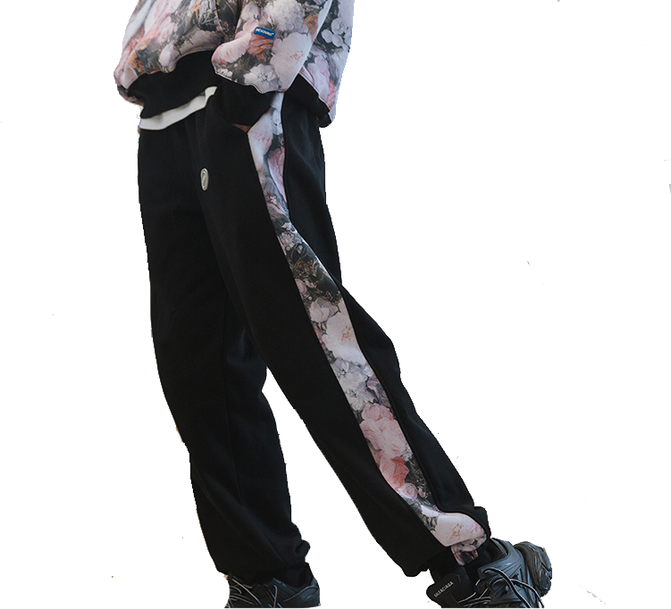 VOVAVI休闲裤男宽松潮流百搭侧边花卉印花卫裤直筒ins街头潮牌