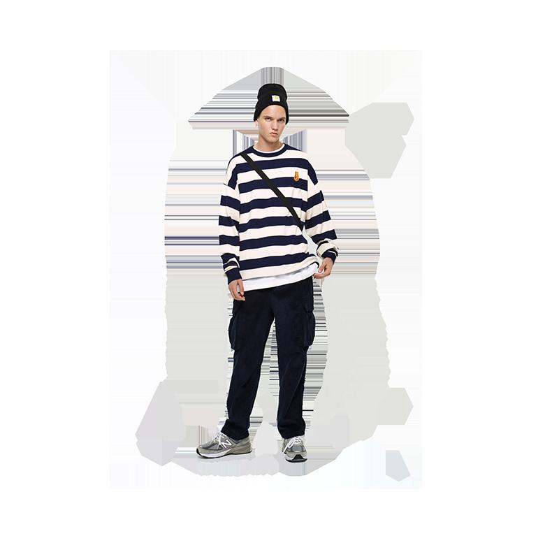 vovavi小熊刺绣条纹毛衣复古刺绣小男孩保暖圆领时尚潮流韩版上衣