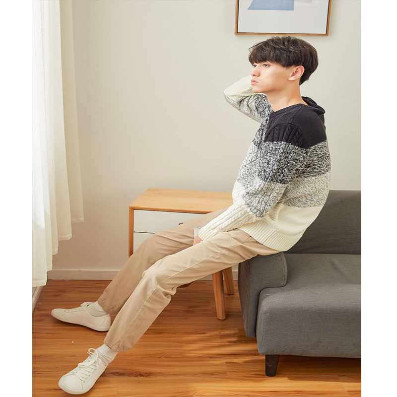 Metersbonwe contrast color sweater male winter new tide brand high collar gradient color men's long sleeve sweater