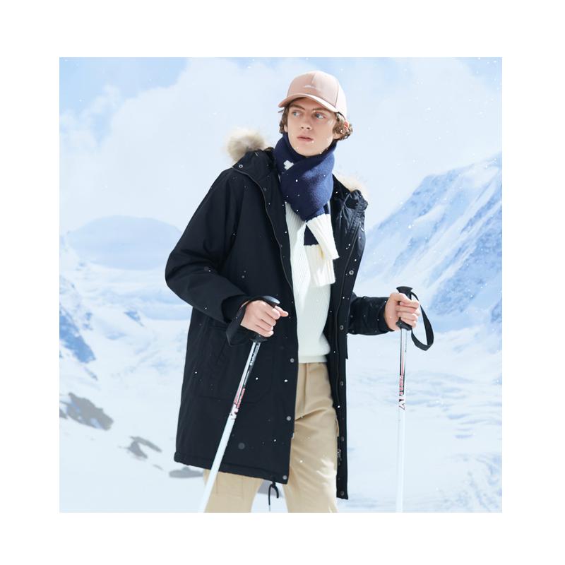 美特斯邦威棉服男新款冬季潮流撞色工装外套连帽派克棉衣男潮