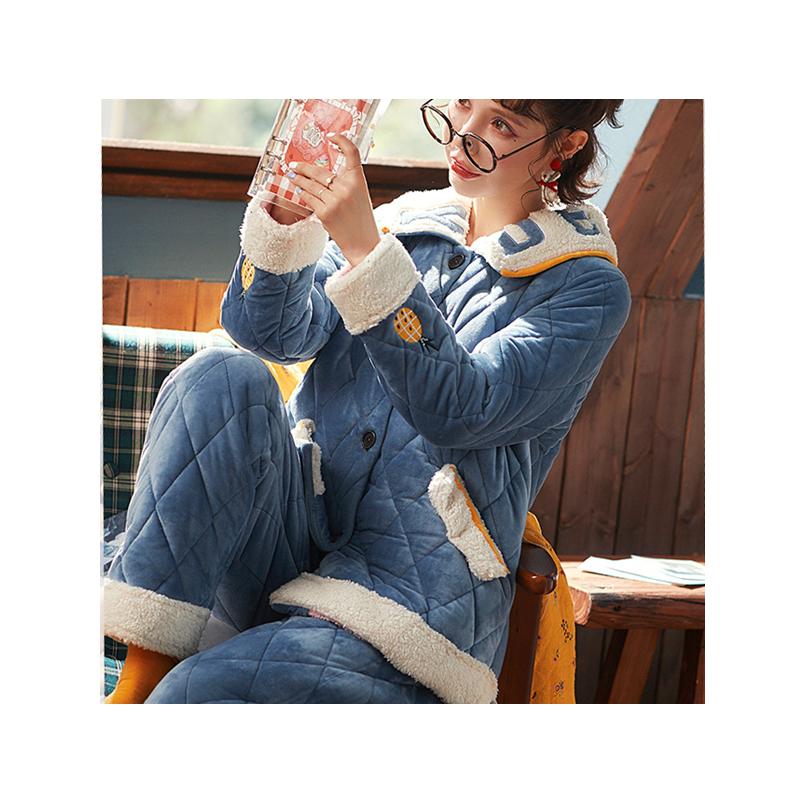 南极人睡衣女秋冬季加厚三层夹棉袄保暖珊瑚绒法兰绒家居服套装XS