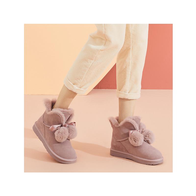热风冬季新款小清新时尚雪地靴女圆头加厚棉鞋H89W9428