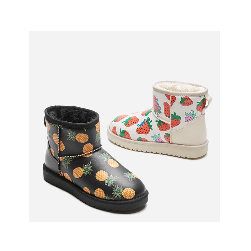 热风冬季新款女士时尚雪地靴加厚百搭休闲棉鞋潮H89W9823