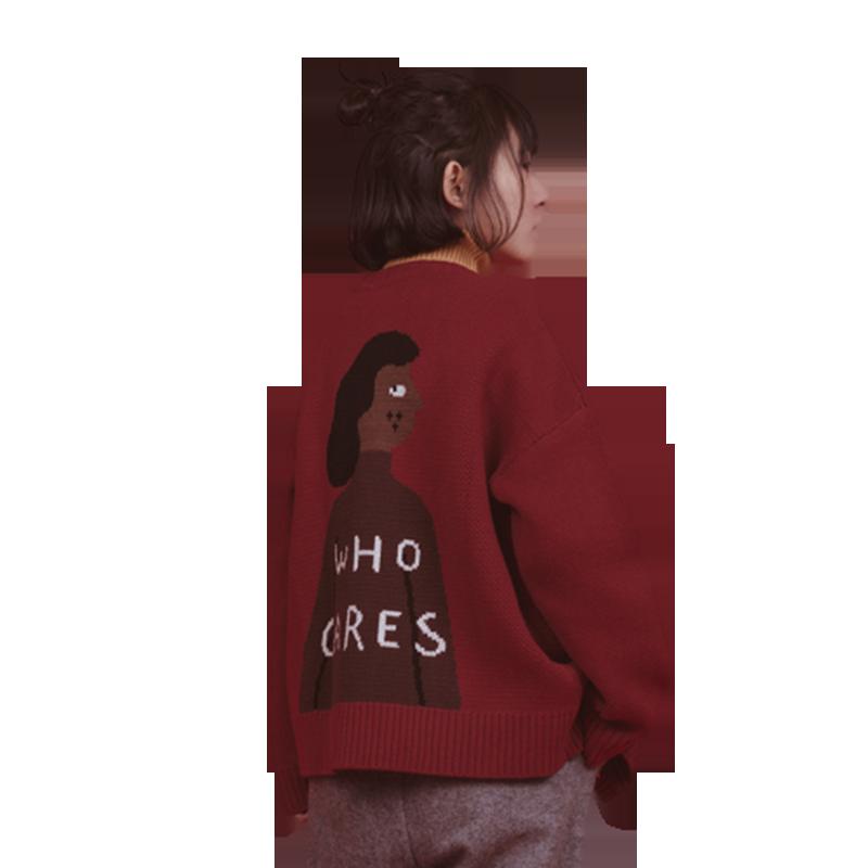 odd maker 黑人系列复古开衫毛衣女慵懒学生宽松针织衫外套