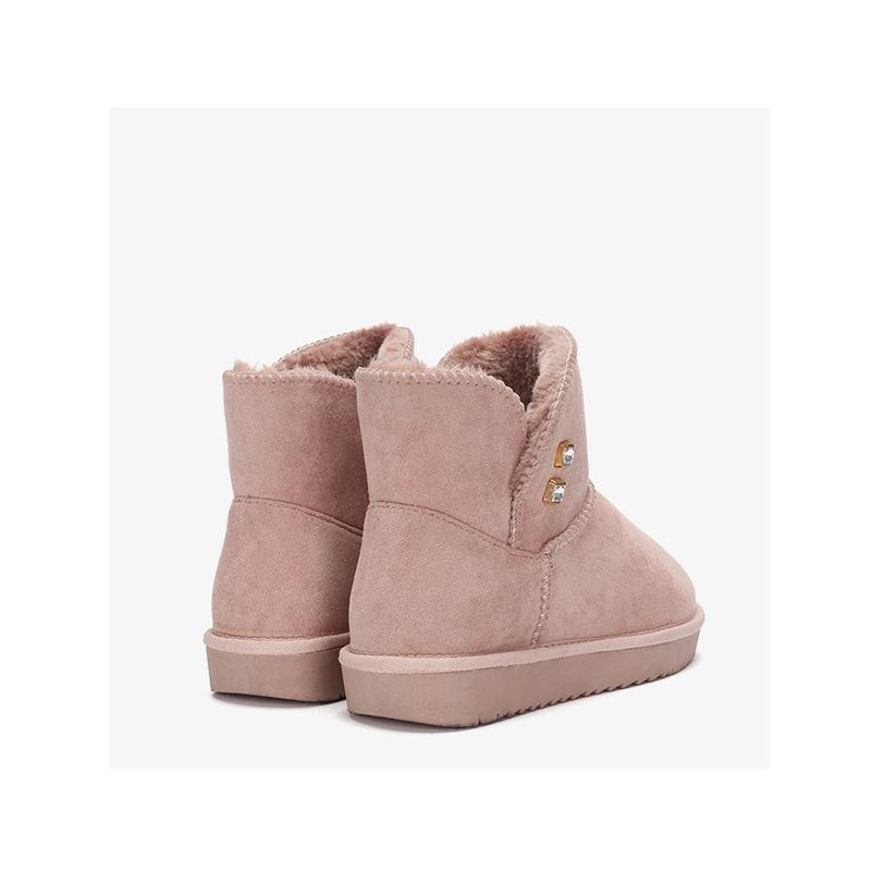 Daphne/达芙妮2019冬经典水钻加绒踝靴长毛绒内里牛筋底雪地靴