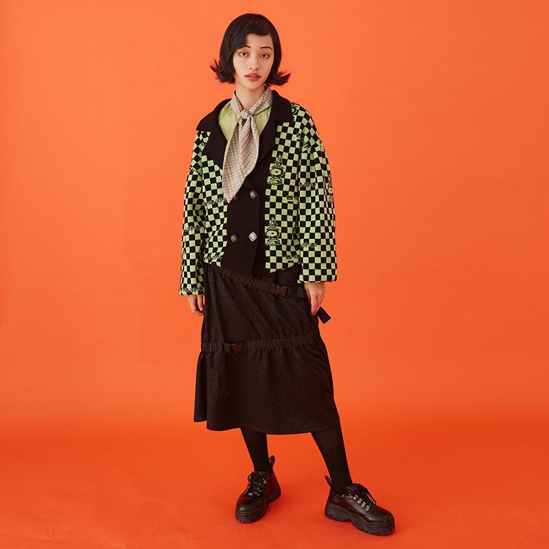 BLUEerror原创设计 秋冬新毛衣开衫女短外套方形格针织开衫