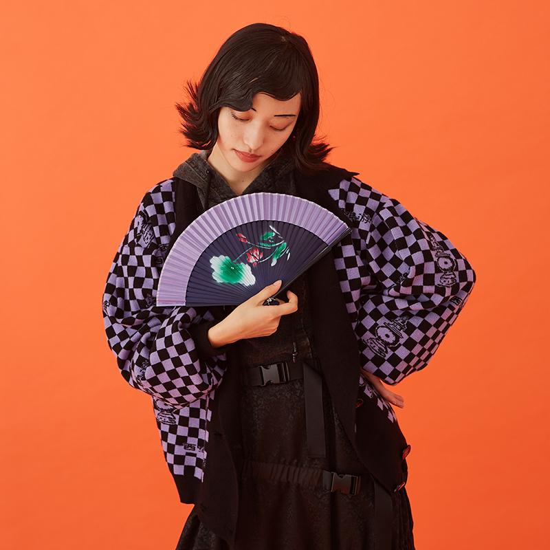 BLUEerror原创设计 毛衣开衫女短款显瘦针织外套秋新格纹毛衫