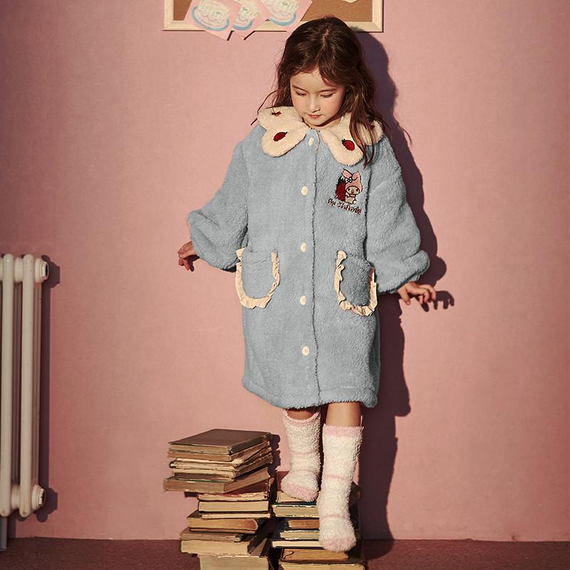 原创儿童睡衣秋冬法兰绒女童睡衣珊瑚绒可外穿家居服宝宝外套