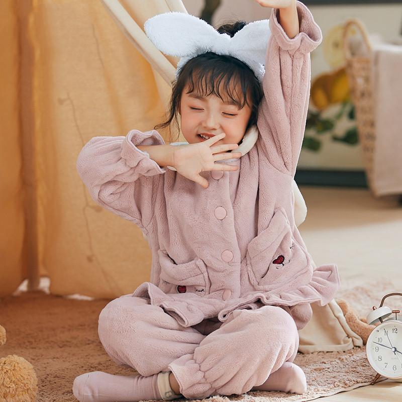 儿童睡衣秋冬款加绒加厚法兰绒宝宝小童家居服女童睡衣冬季珊瑚绒