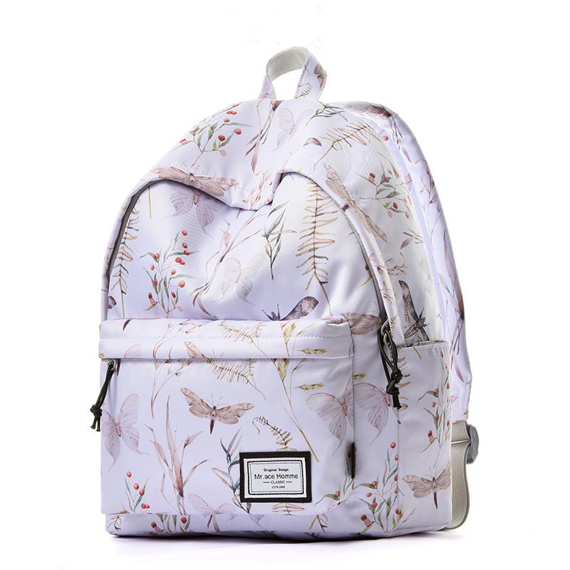 mracehomme时尚潮流双肩包女大容量背包男韩版校园学生书包