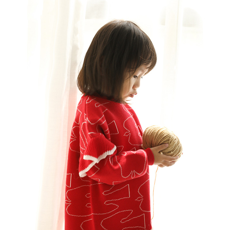 Papa kinds qiu dong female baby wool knitting dress girls network veil of 1-5 years of age