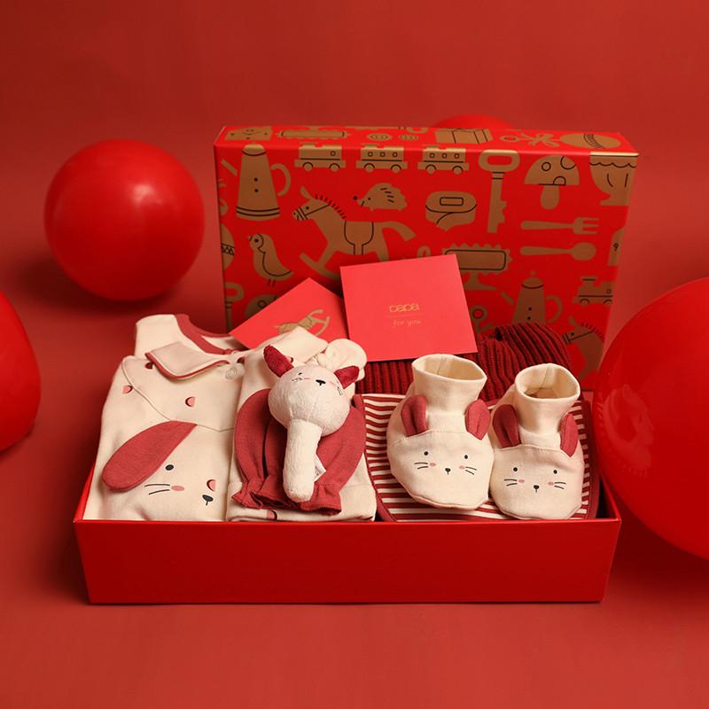 papa爬爬秋冬新生婴儿套装礼盒初生宝宝用品冬季服装送礼0-9个月