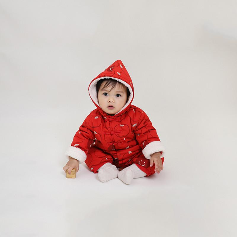 papa爬爬冬春节男女宝宝新年棉袄连体衣婴儿保暖棉服爬服0-3岁