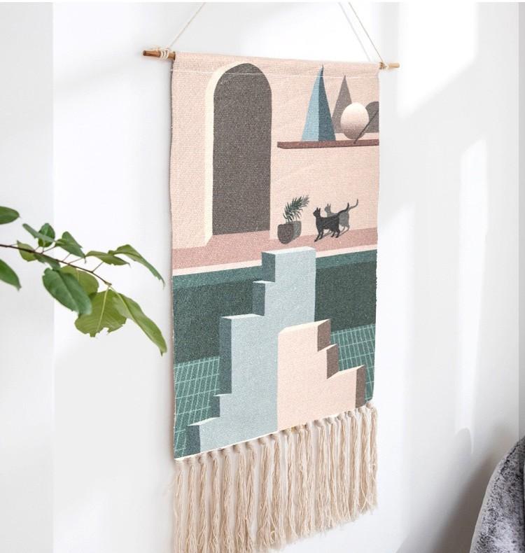 【包邮】北欧风格编织流苏挂毯布艺背景装饰壁画-猫咪时光