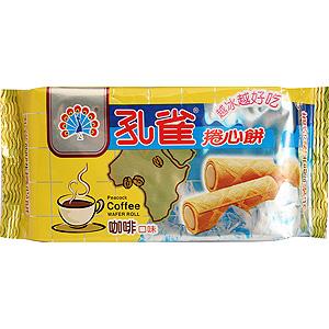台湾乖乖孔雀 咖啡口味卷心饼干 63g